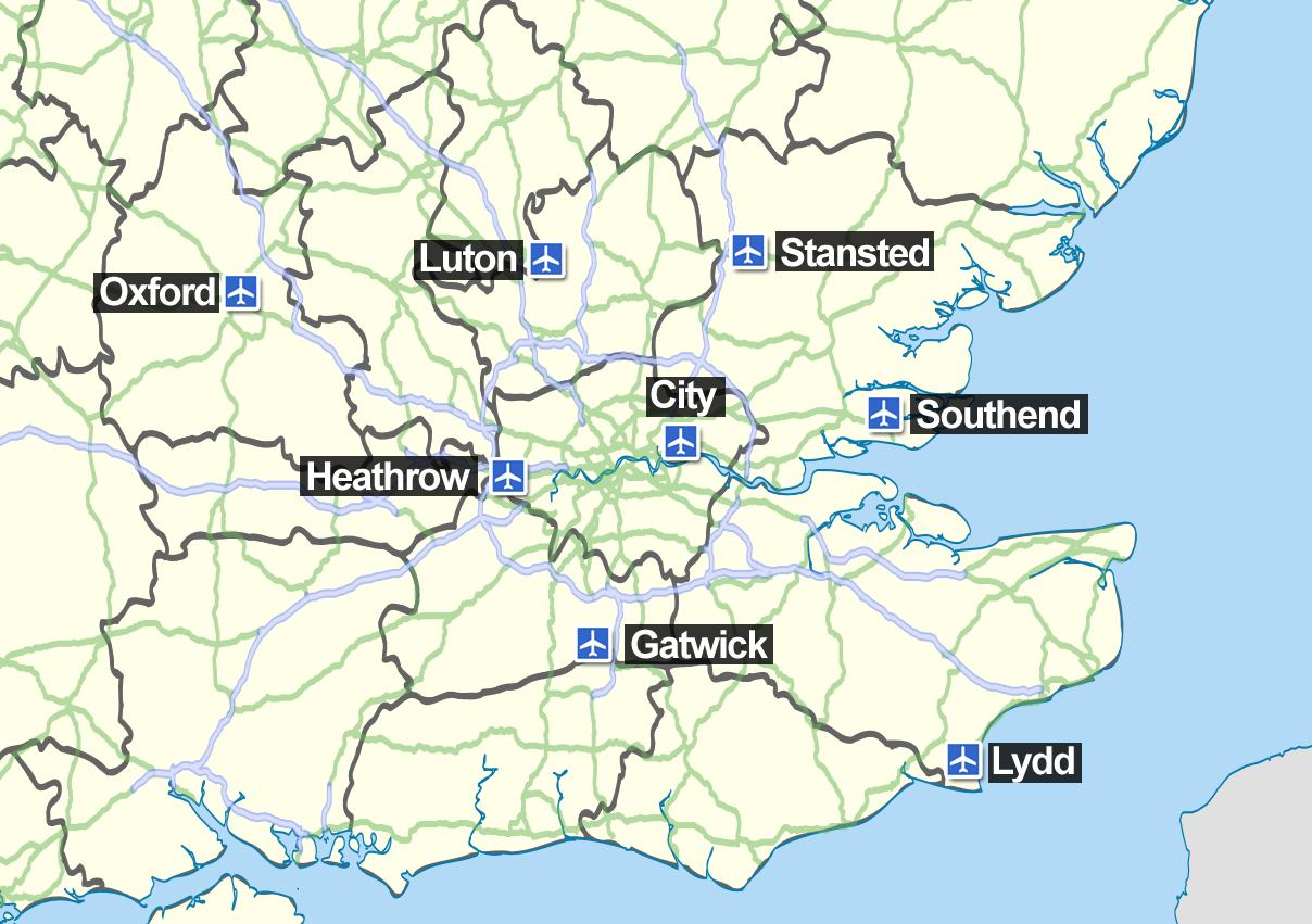 Luchthavens Engeland Kaart | Kaart 2018